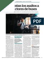 Aumentan asaltos a conductores de buses