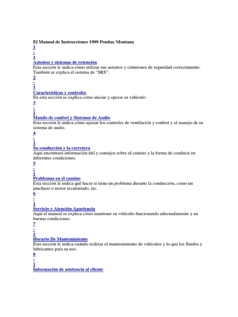El Manual de Instrucciones 1999 Pontiac Montana.pdf