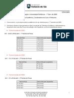 07/01/2009 Calendário Acadêmico Da Graduação e Universidade