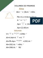 Area y Volumen de Piramide
