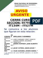 Cierre Curs EE701M- IT134M- IT527M Hasta El 06-Abr