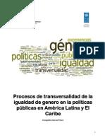 Practicas de Transversalidad de La Igualdad de Género en Políticas Públicas,. en América Latina y El Caribe. Hallazgos