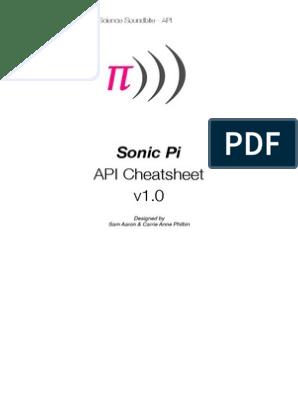 Sonic Pi Cheatsheet | Synthesizer | Pi