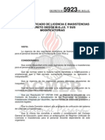Decreto 5923-00 Regimen Unificado de Licencias