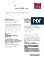 Critical Appraisal of Health Care Literature