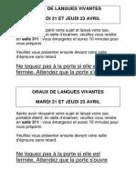 Affiches des oraux de langues