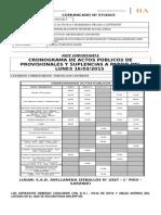 Cronograma de Actos Públicos de Provisionales y Suplencias a Partir Del Lunes 16