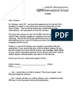 the snow queen parent letter