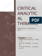 Workshop 3 - Critical Thinking