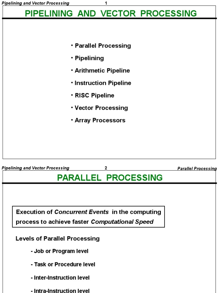 Pipelining And Vector Processing Parallel Computing Instruction Set