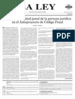 La responsabilidad penal de la persona jurídica en el Anteproyecto de Código Penal