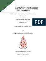 REUTILIZAÇÃO DE ÁGUAS CINZENTAS COMO FONTE ALTERNATIVA DE ABASTECIMENTO DE ÁGUA EM EDIFÍCIOS - Engº João Luz