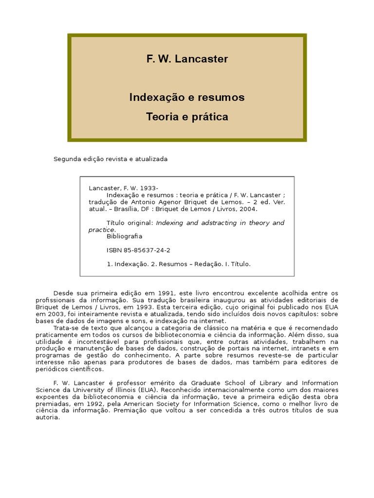 Indexacao e resumos teoria e pratica f w lancasterc fandeluxe Images