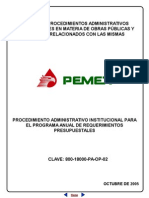 PROCEDIMIENTO ADMINISTRATIVO INSTITUCIONAL PARA EL PROGRAMA ANUAL DE REQUERIMIENTOS PRESUPUESTALES