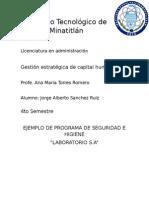 Programa de seguridad e higiene de un laboratorio
