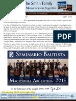 Prayer Letter Smiths2argentina 2015 04 SBMA