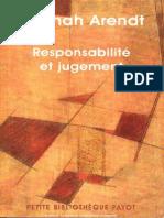 Responsabilite Et Jugement Hannah Arendt