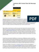 GRATIS Kaspersky Antivirus 2015 Lizenz Clave De Descarga Oder Codigo De Serie