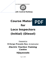 Course for Loco Inspector Initial (Diesel)