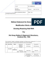 Method Statement for Demolition & Modification Works at Existing Retaining Wall RW5