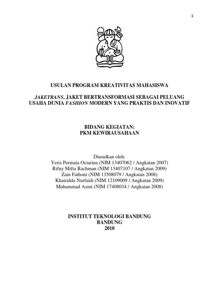 Contoh Proposal PKM Kewirausahaan Yeris Permata