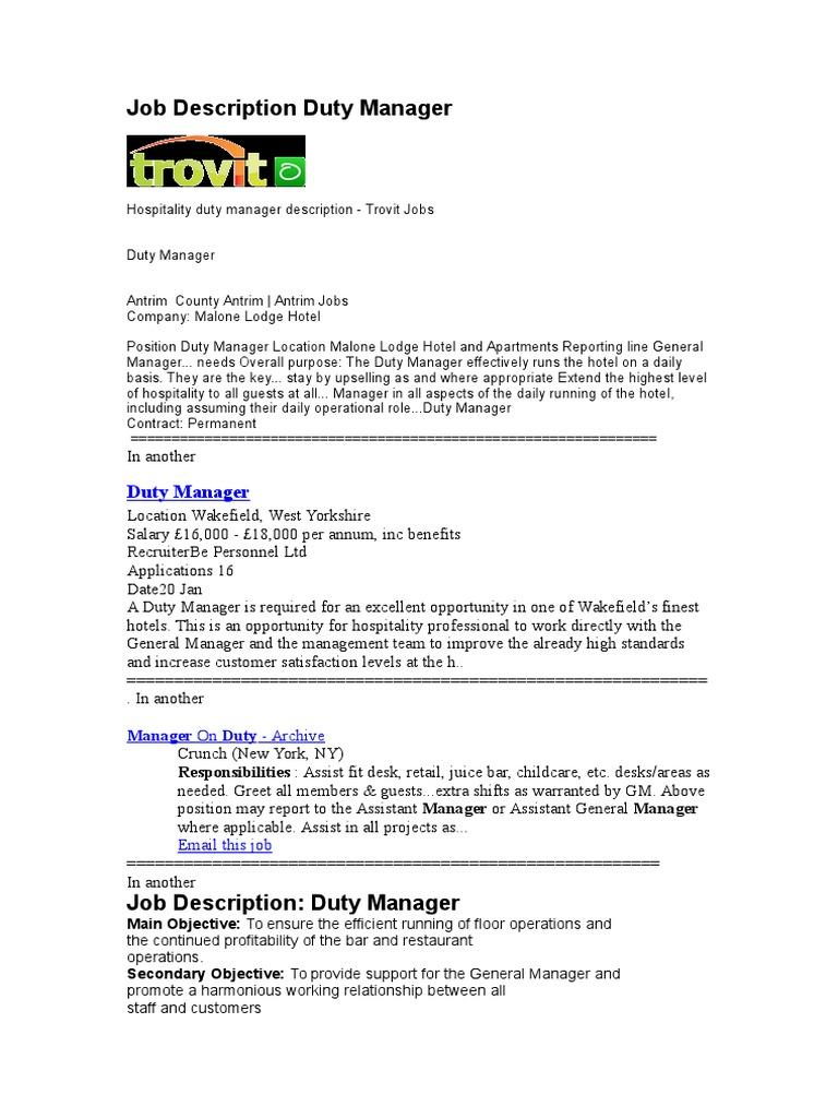 Assistant general manager job description in hotel