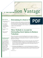 Methods to Account for Outstanding Stock Options in Business Valuations