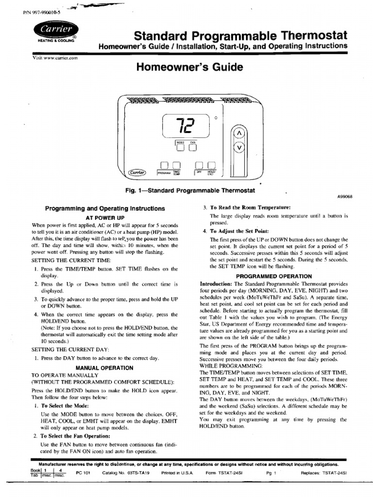 Carrier Standard Programmable Thermostat Homeowners Guide