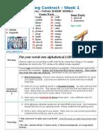 Spelling Contract Week 1 - 2014 to 2015 - Journey
