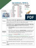 Spelling Contract Week 5 - 2014 to 2015 - Journey