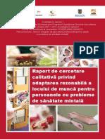 Raport de Cercetare Calitativă Privind Adaptarea Rezonabilă a Locului de Muncă Pentru Persoanele Cu Probleme de Sănătate Mintală