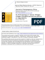 Lora-Wainwright, Anna. 2010. An Anthropology of 'Cancer Villages'- villagers' perspectives and the politics of responsibility. Journal of Contemporary China 19(63)- 79-99