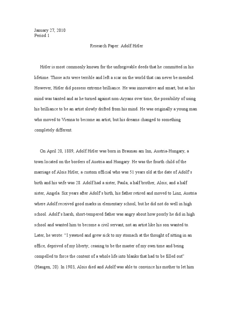 Hitler Research Paper (First Draft) | Nazi Germany | Adolf Hitler