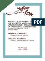 Modelo de Programación Lineal Entera Mixta Para Laplanificación Conjunta de La Cadena de Abastecimiento