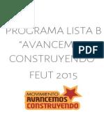 "Programa Lista B FEUT ""Avancemos Construyendo"""