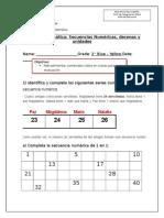 Guía de Matemática Secuencias, Unidades, Decenas