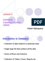 Lecture 2 Database Database System DBMS