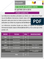 Cronograma Escolar Del Ano Lectivo Costa 2014 2015