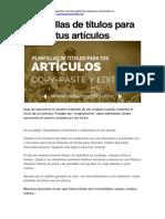 Plantillas de Títulos Para Tus Artículos-copy-paste y Editar
