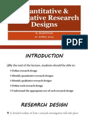 outline of quantitative research design pdf