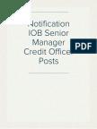 Notification IOB Senior Manager Credit Officer Posts