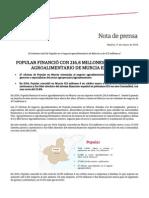 Ángel Ron y el Popular financiaron con 216,8 millones de euros al sector agroalimentario de Murcia