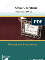 DHM 122-Front Office Operations 2009