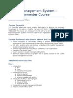 QMS - Lead Implementer Course