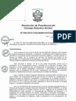 Resolución N°046-2015-COSUSINEACE-CDAH-P
