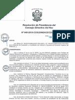 Resolución N°048-2015-COSUSINEACE-CDAH-P