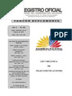 Registro Oficial N° 439 Ley Orgánica de Telecomunicaciones
