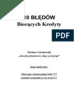 10 BŁĘDÓW Biorących Kredyty Dariusz Górniewski