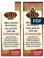 Relay for Life Texas Roadhouse Fundraiser 4-21-15