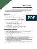 tyler w frank teaching resume